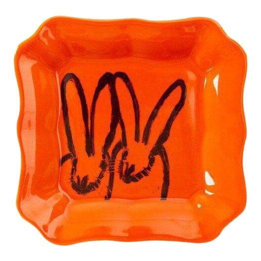 Orange Bunny Portrait Plate, Hunt Slonem For Sale
