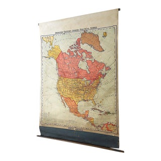 Large Roll-Up Vintage Mid Century School Map-North America For Sale