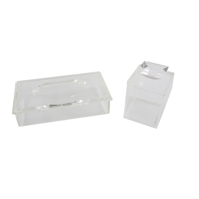 Clear Lucite Boxes - Pair - Image 1 of 3