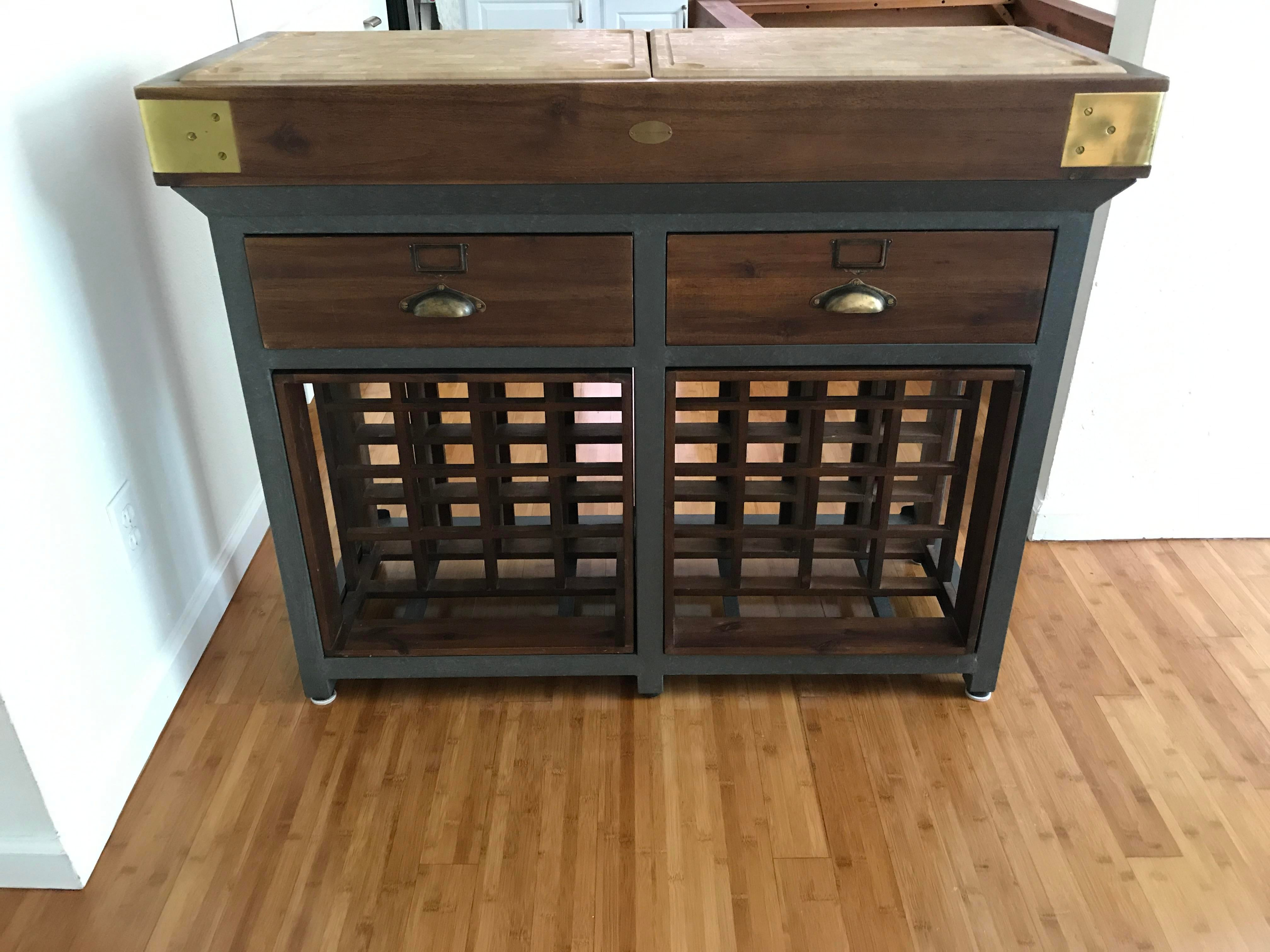 Great French Chef Kitchen Island With Drawers And Wine Rack