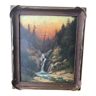 Frederick Bauer Original Waterfall Sunset Oil Painting in Pie Crust Frame For Sale