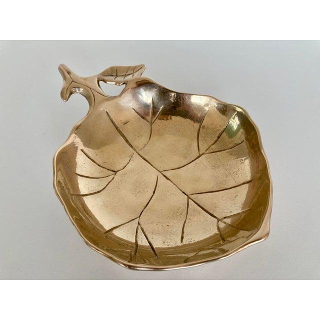 Mid-Century Modern Brass Leaf Bowl For Sale - Image 3 of 5