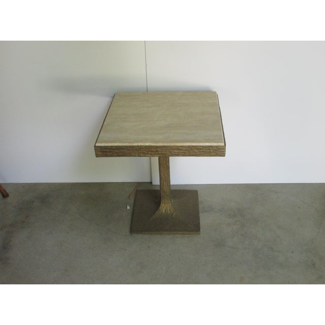 2010s Travertine Bronze Base Side Table For Sale - Image 5 of 5