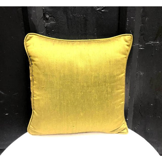 Mid-Century Modern Olive Raw Silk Throw Pillow For Sale - Image 3 of 3