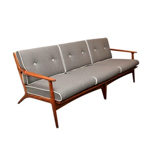 Mid Century Danish Teak Sofa With Three Cushions Section For Sale