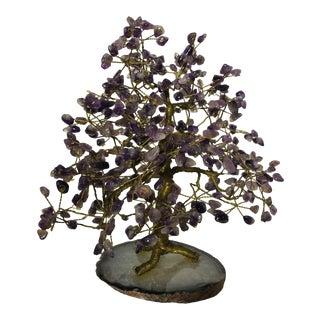 Vintage Amethyst Tree on Agate Base Tree of Life With Copper Trunk and Stems For Sale