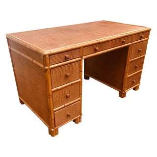 Vintage Bamboo Writing Desk Palm Beach Style Cane