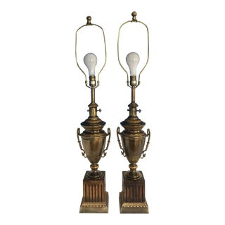 1920s Brass, Bronze and Wood Frederick Cooper Table Lamps - a Pair For Sale