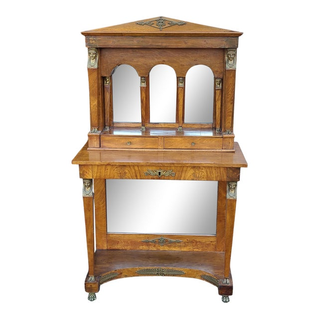 Antique English Regency Amboyna Egyptian Revival Pier Console Table W/ Upper Arched Mirror Top C1850 For Sale