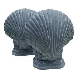 Blue Shell Scallop Coastal Lamps- a Pair
