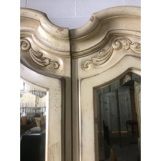 Lovely Pair of Cream Painted and Mirrored Armoires Preview