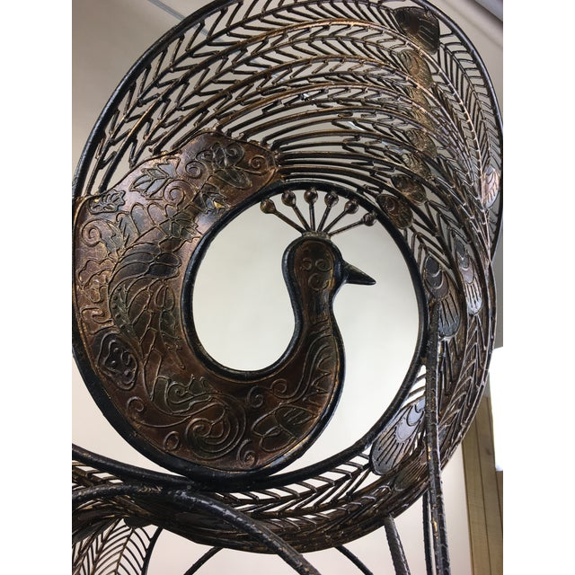1990s Wrought Iron Sculptural Peacock Chair by Artmax For Sale - Image 10 of 11