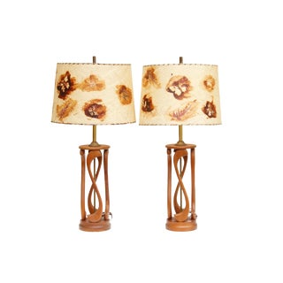Sculptural Mid Century Modern Teak Table Lamps, a Pair For Sale