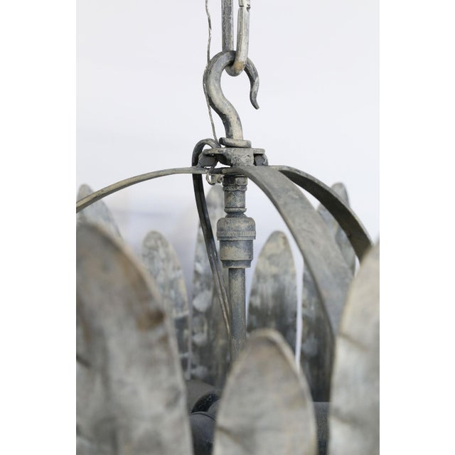 """Silver Hand-Crafted Iron """"Fairfield"""" Crown Light in Silver For Sale - Image 8 of 9"""