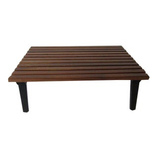 Rare George Nelson Steel Frame Walnut Slated Coffee Table by Herman Miller