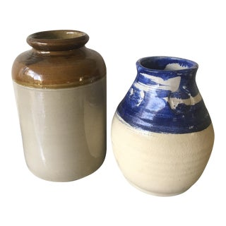 1970's Pottery Vases - A Pair