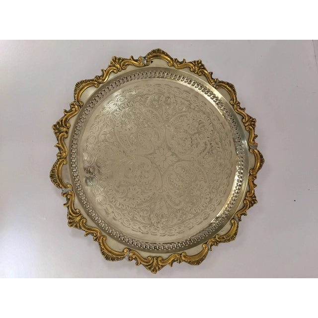 1940s Moroccan Handcrafted Silver Round Tray With Brass Overlay Moorish Designs For Sale - Image 5 of 13
