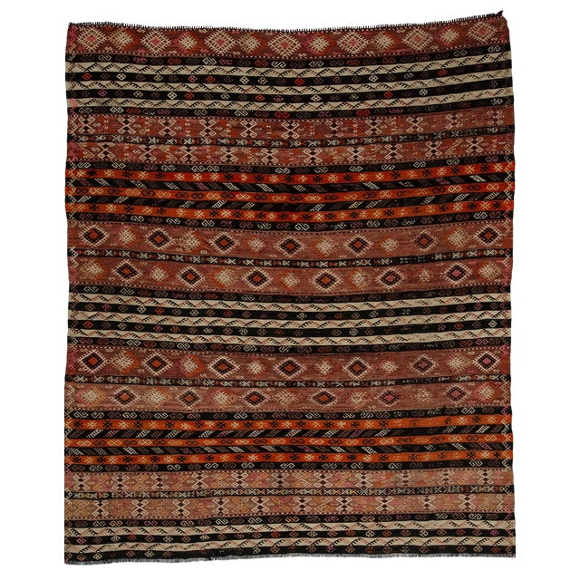 Embroidered Vintage Kilim Rug- 7′8″ × 9′ For Sale