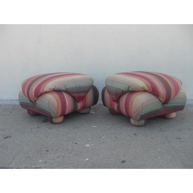 1980s Vintage Upholstered Poofs- A Pair For Sale - Image 13 of 13
