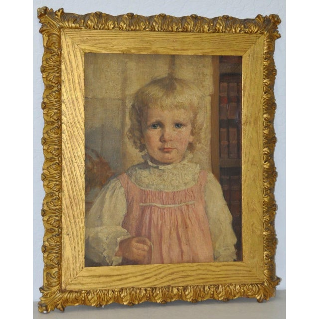 """19th Century """"Young Girl in a Pink Dress"""" Portrait Oil Painting For Sale - Image 9 of 9"""