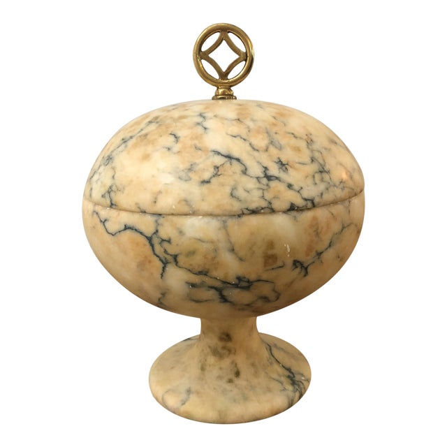 Antique Italian Marble Lidded Compote For Sale