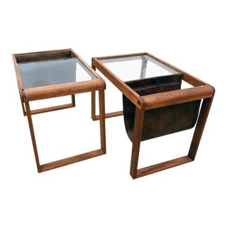Mid-Century Glass Top Wood Side Tables / Magazine Racks - a Pair For Sale