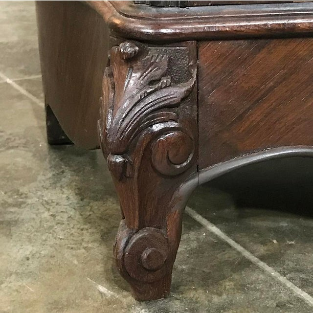Brown 19th Century French Parisienne Rosewood Marble Top Drop-Front Secretary For Sale - Image 8 of 13