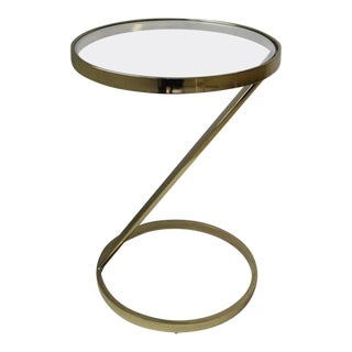 20th Century Modern Round Brass and Glass Side Table For Sale