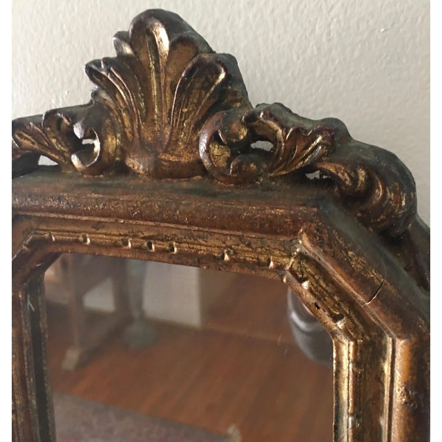 Antique Small Decorative Gilt Mirror For Sale - Image 4 of 6