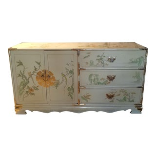Hand Painted Asian Campaign Lacquer Dresser