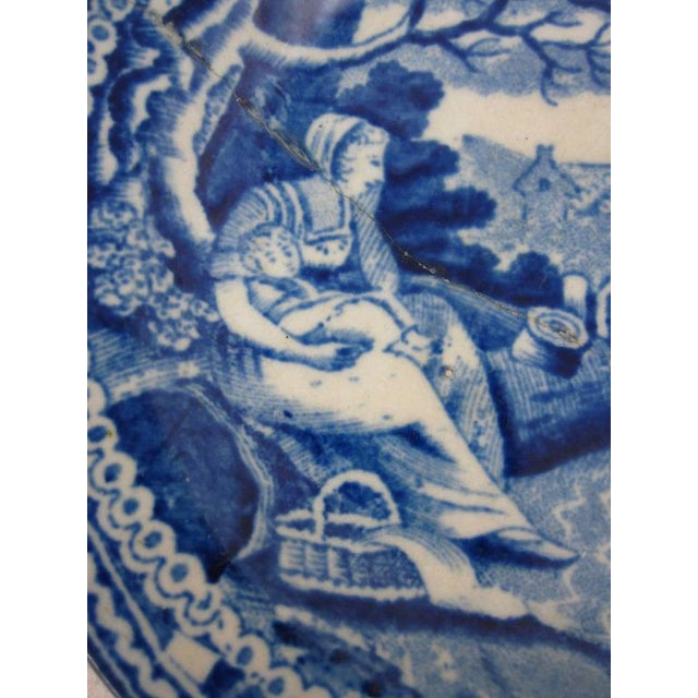 English Traditional English Staffordshire Blue & White Transferware Stapled Cup Plate, Farmer & Family For Sale - Image 3 of 6