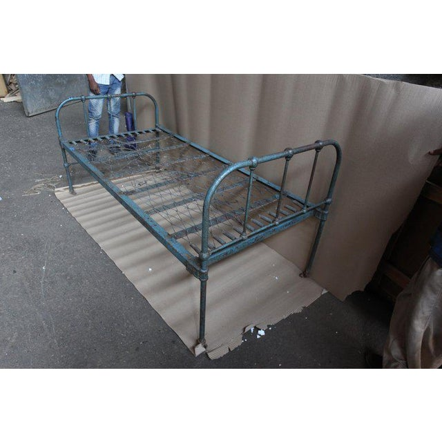 Industrial Iron Twin Bed With Original Blue Paint, 1930s For Sale - Image 3 of 10