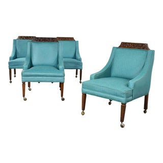 Set of 4 Spanish Style Rolling Game Chairs With Turquoise Vinyl Original Upholstery For Sale