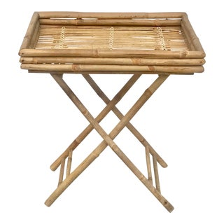 Vintage Bamboo Foldable Tray Table For Sale