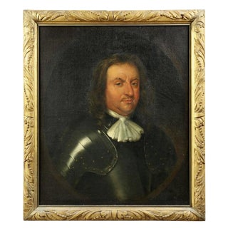 Framed Portrait of Oliver Cromwell Oil Painting on Canvas For Sale