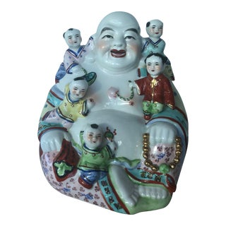 Famille Rose Buddha & Children Sculpture For Sale