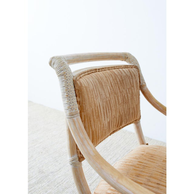 McGuire Cerused Rattan Dining Chairs- Set of 9 For Sale - Image 4 of 13