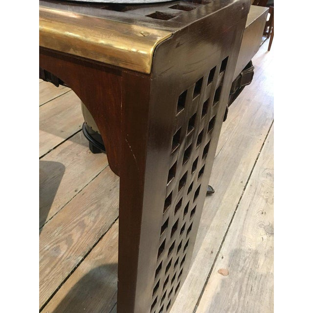 Ship's Nautical Teak Decking Converted to Console Table With Brass Border For Sale - Image 4 of 10