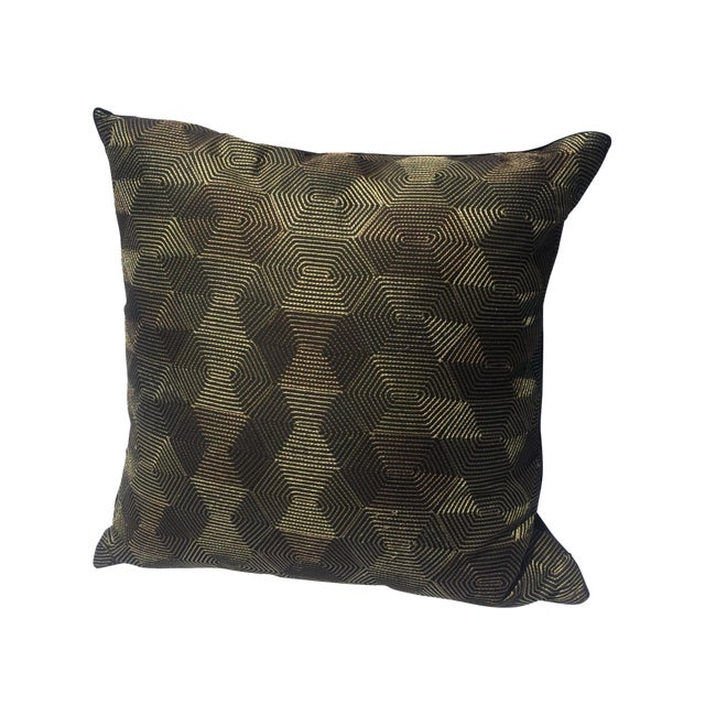 Black And Gold Geometric Pillow - Image 1 of 4