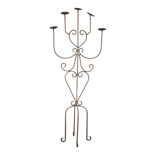 Vintage Spanish Style Wrought Iron Five Arm Candelabra Candle Holder For Sale