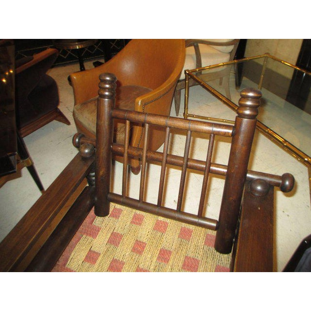 Unusual Pair of Spindle Back Armchairs with Woven Seats For Sale - Image 4 of 7