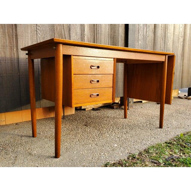 1950s Midcentury Danish Modern Arne Vodder Danish Teak Drop Leaf Desk For Sale - Image 13 of 13