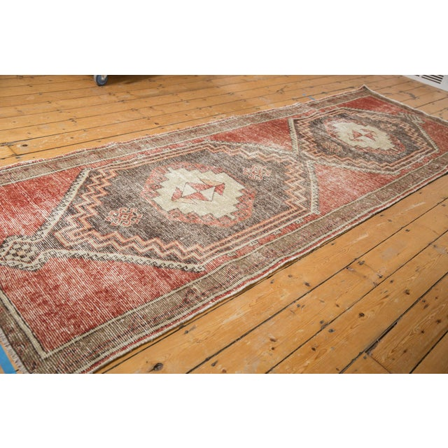 "Islamic Vintage Distressed Oushak Rug Runner - 3'9"" X 11'3"" For Sale - Image 3 of 13"