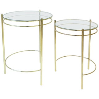 Set Round Brass and Glass Nesting End or Side Tables For Sale