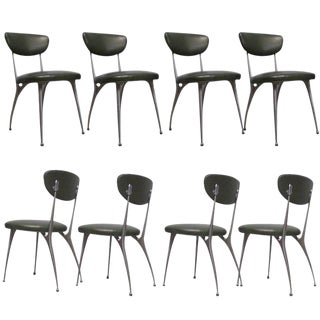 "Shelby Williams Sculptural Aluminum Frame ""Gazelle"" Chairs - Set of 8 For Sale"