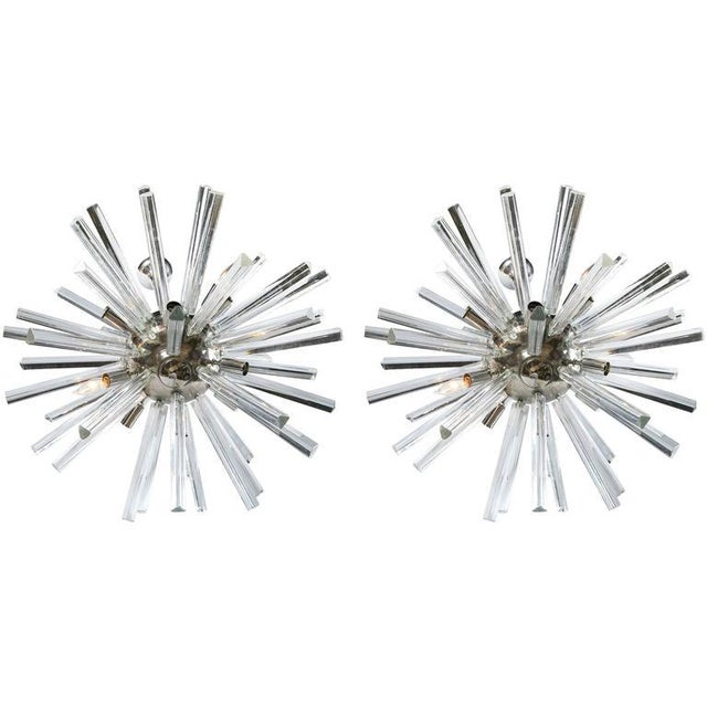 A Pair of Italian Mid-Century Modern Chrome Sputnik Chandeliers For Sale In New York - Image 6 of 6