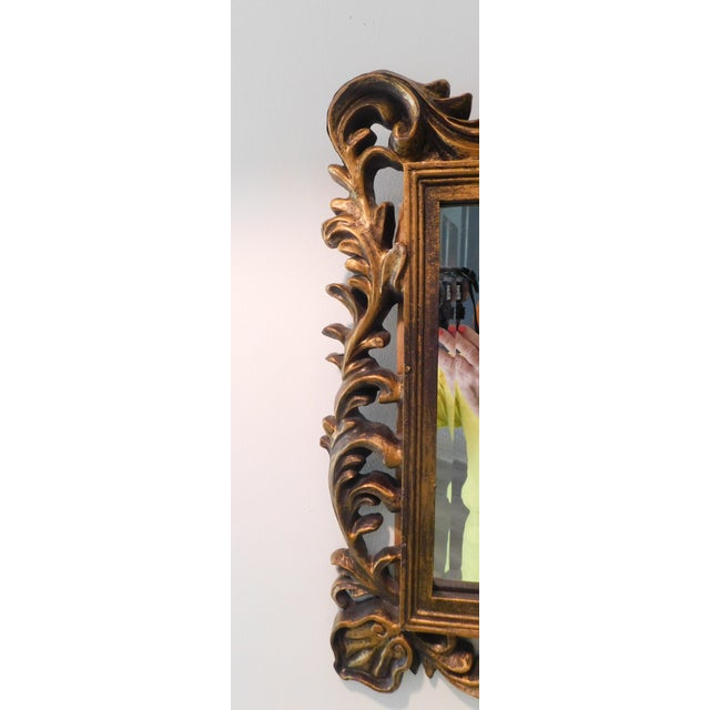 Metal Vintage Baroque Style Gold Leaf Beveled Wall Mirror For Sale - Image 7 of 11