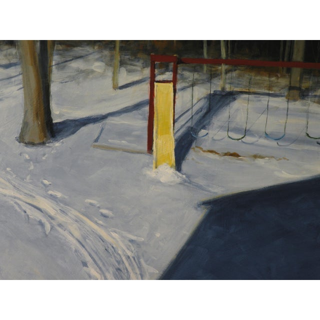 """2000 - 2009 Modern """"Backyard on a Winter Afternoon"""" Painting by Stephen Remick For Sale - Image 5 of 8"""