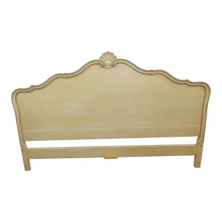 French Style Cream Shell Carved Kingsize Headboard For Sale