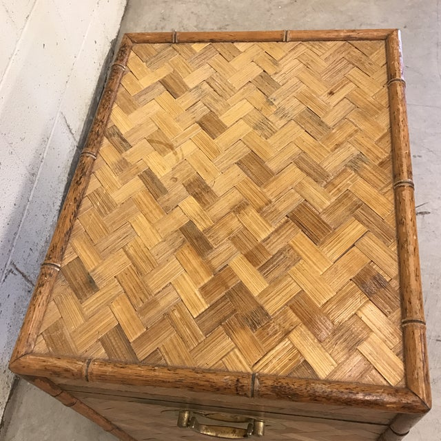 Bamboo & Herringbone Parquet Trunk Chest For Sale - Image 7 of 11